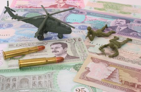 iraq money: Currency From Iraq with Bullets and Plastic Soldiers