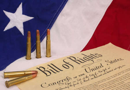 Bill of Rights With Bullets and American Flag