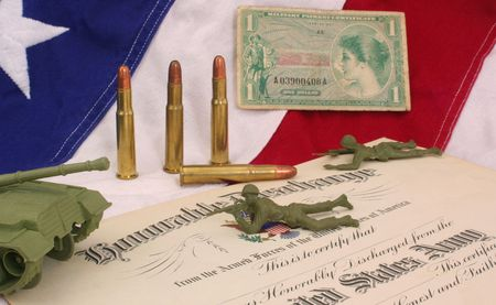 honorable: Honorable Discharge Certificate With Plastic Soldiers and American Flag