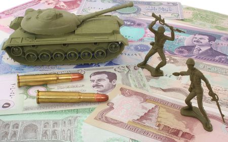 arabic currency: Money From Iraq with Bullets and Plastic Soldiers