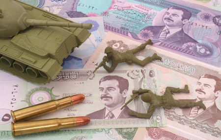 Currency From Iraq with Bullets and Plastic Soldiers photo