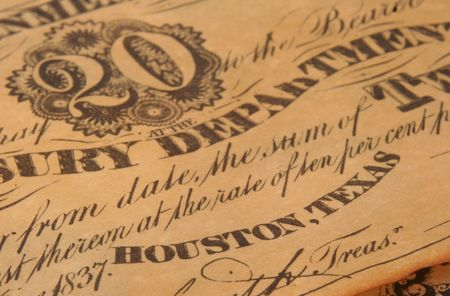 Republic of Texas Currency, Close-up Detail Shallow DOF