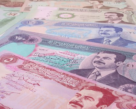 arabic currency: Currency From Iraq With Saddam Husseins Face Stock Photo