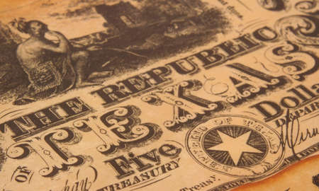 five dollars: Republic of Texas Currency, Close-up Detail Five Dollars Shallow DOF