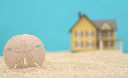 sand dollar: Sand Dollar y Beach House Con fondo azul