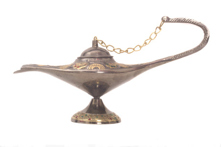 Old Oil Lamp From The Middle East Isolated on a White Background