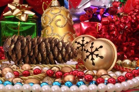 Christmas Decorations With Pine Cone and Beads Stock Photo