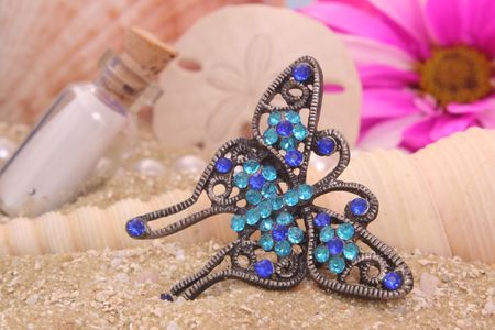 beach butterfly: Butterfly Jewelry on Sand With Sea Shells, Shallow DOF