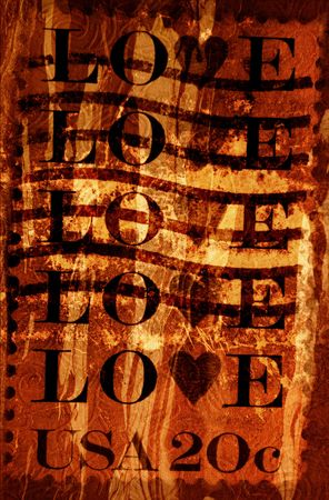 Grunge Background With Love Stamp from the USA Stock Photo