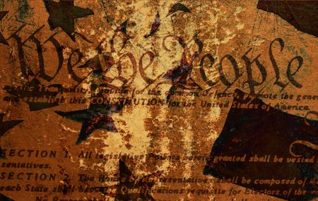 Grunge Style Background With Constitution and American Flag Stock Photo - 1930769