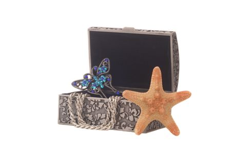 broach: Antique Jewelry Box on White Background with Starfish and Butterfly Broach. Shallow DOF Stock Photo