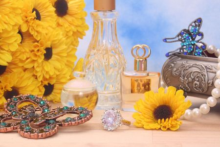 Ring With Flowers and Jewelry Box, Shallow DOF, Focus on Ring photo