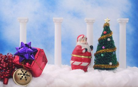 Christmas Gift and Decorations With Blue Sky Background photo