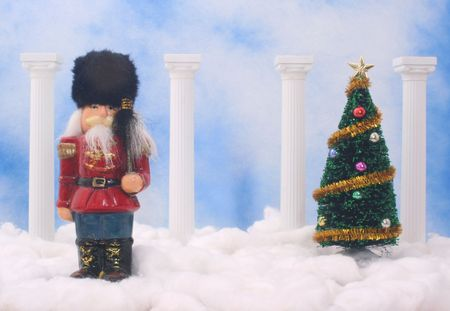 Nutcracker With Christmas Tree on Blue Sky Background Stock Photo - 2104276