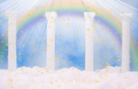 Columns and Clouds With Blue Sky and Rainbow