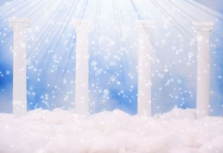 kingdom of heaven: Columns and Clouds With Blue Sky and Snow Stock Photo