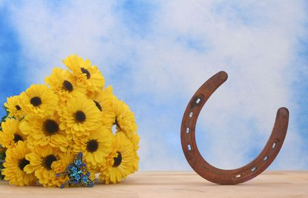 broach: Yellow Flowers and Rusty Horseshoe on Blue and White Textured Background