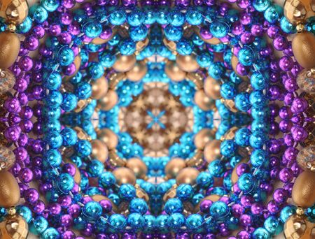 Abstract Background with Blue,  Purple and Gold Beads photo