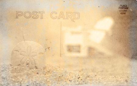 sand dollar: Vintage Grunge Estilo Postal Antecedentes Con Sand Dollar