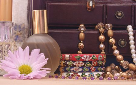 Jewelry Box With Jewelry, Perfume and Flower