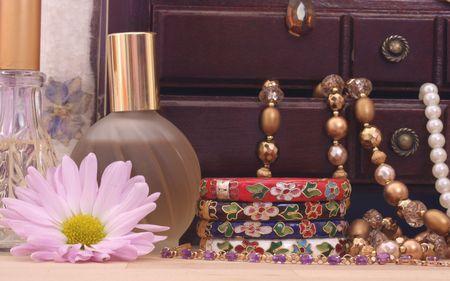Jewelry Box With Jewelry, Perfume and Flower Stock Photo - 2283354