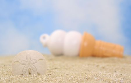 cone shell: Sea Shell and Ice Cream Cone on Beach, Shallow DOf Stock Photo