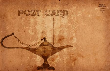 Vintage Grunge Style Postcard With Oil Lamp