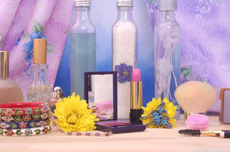 Cosmetics and Jewelry With Flowers and Perfume Stock Photo - 2361380