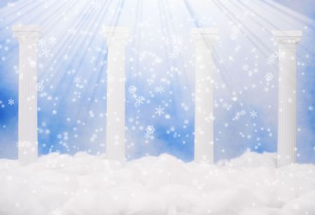 kingdom of heaven: Columns and Clouds With Blue Sky