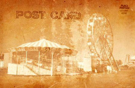Vintage Grunge Style Postcard Of Carnival Rides Stock Photo