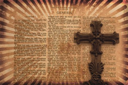 Vintage Grunge Style Background with Bible Page and Cross photo