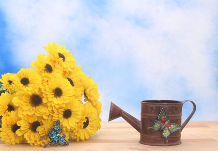 Yellow Flowers and Metal Water Can on Blue Textured Background
