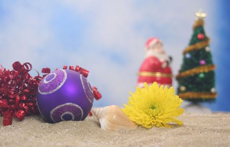 Christmas Ornament and Flower With Christmas Tree, Shallow DOF photo