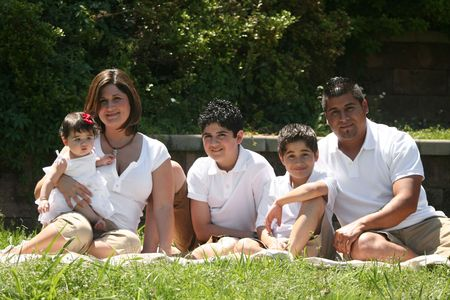 Young Hispanic Family, Afternoon in the Park photo