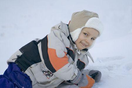 happy boy on a snow Stock Photo - 622694