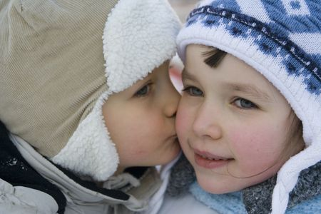 hearted: kissing children Stock Photo