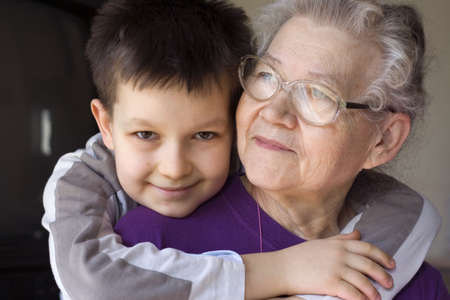 grandmother and grandson: boy with grandma