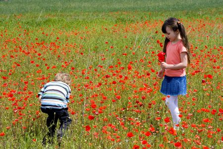 boy and girl on a meadow Stock Photo - 695921