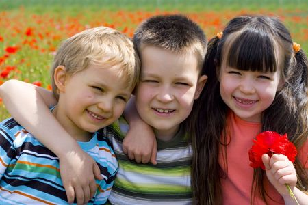 sister with brothers Stock Photo