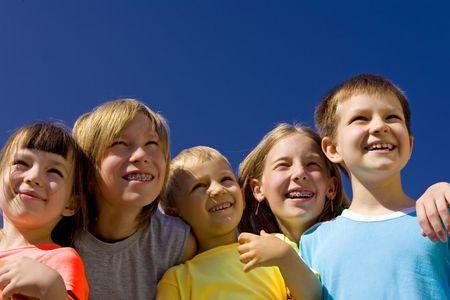 children on blue sky Stock Photo - 720871