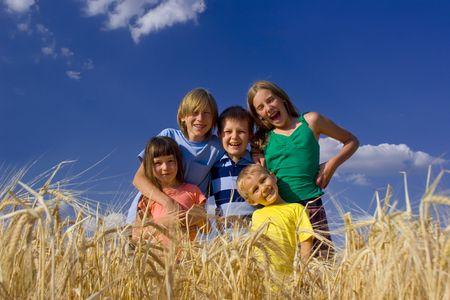 Happy children in cereal Stock Photo - 720851