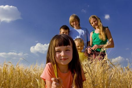 Children in cereal Stock Photo - 720857
