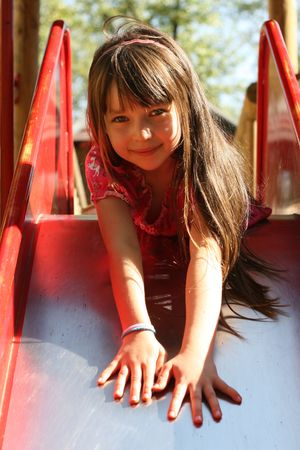 girl on slide Stock Photo - 722681