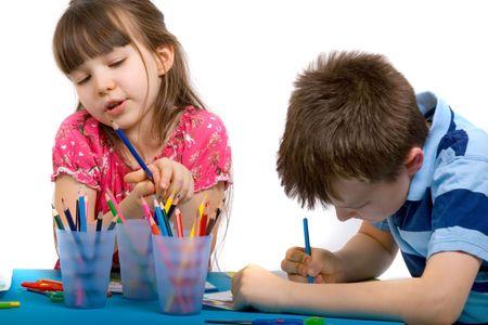 Cuadros de dibujo del hermano y de la hermana