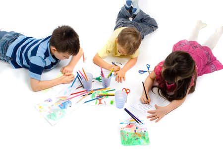 kids painting: Children Drawing Stock Photo