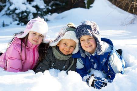 children in snow photo