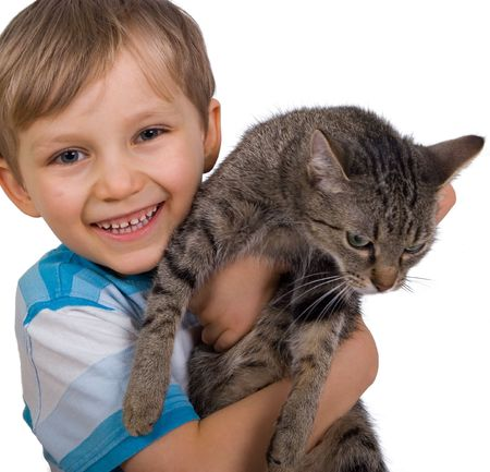 brown pussy: boy with cat Stock Photo