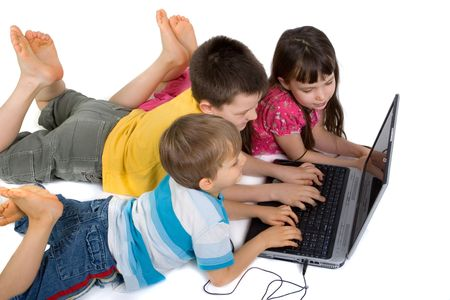 children with laptop photo