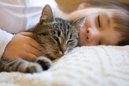 sleeping girl with cat