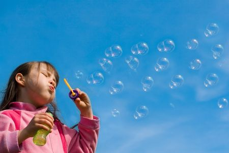 Chica con Burbujas  Foto de archivo